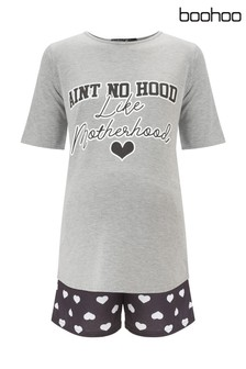 Boohoo Maternity Ain't No Hood PJ Short Set