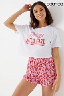 Boohoo Stay Wild Short And Tee PJ Set