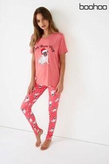Boohoo Bah Hum Pug Christmas Tshirt And Trouser Christmas PJ Set
