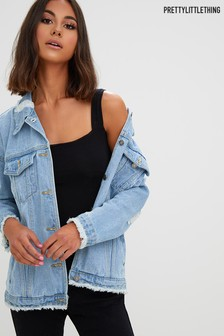 PrettyLittleThing Distressed Oversized Denim Jacket