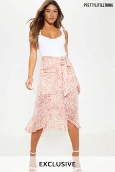 PrettyLittleThing High Low Frill Hem Tie Waist Midi Skirt