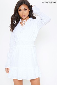 PrettyLittleThing Broderie long Sleeved Collar Dress