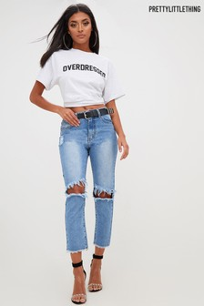 PrettyLittleThing Straight Fit-Jeans im Used-Look