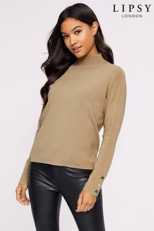 Lipsy Button Cuff Turtle Neck Jumper