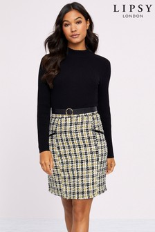 Lipsy Belted 2 In 1 Check Dress