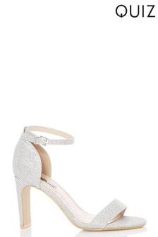 Quiz Glitter Skinny Block Heel Shoes