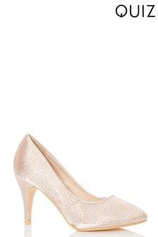Quiz Diamanté Round Toe Court Shoe