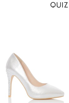 884c27c0c45 Quiz Shimmer Diamanté Heel Court Shoes