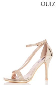 Quiz Glitter V Strap Heels