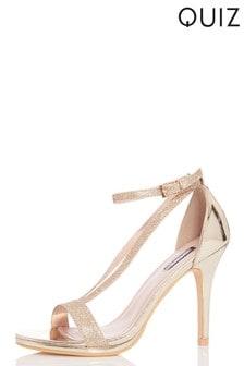 cc89718fc817 Quiz Glitter V Strap Heels