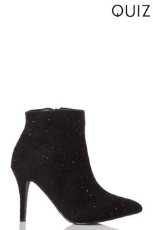 Quiz Diamanté Pointed Toe Stiletto Boot