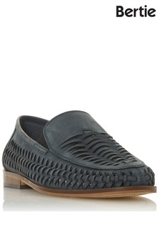 Bertie Lace Up Leather Woven Loafers