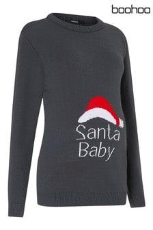 Boohoo Maternity Santa Baby Christmas Jumper
