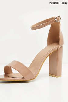 PrettyLittleThing Patent Block Heel Sandals