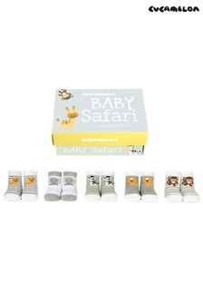 Cucamelon 'Baby Safari' Socks Baby Gift Box - 5 Pair