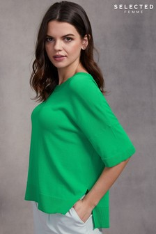 Pull Selected Femme manches courtes en maille
