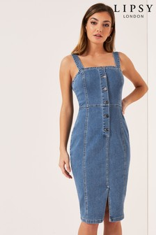 394ee456104 Lipsy Button Through Denim Bodycon Dress