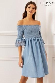 Lipsy Lightweight Shirred Dress