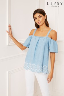 Lipsy Lightweight Embroidered Cold Shoulder Top