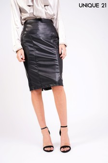 Unique 21 Faux Leather Midi Skirt