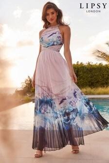Lipsy VIP Mineral Print Halter Maxi Dress
