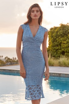efe0498bd0 Lipsy VIP Embroidered Lace Plunge Flute Hem Midi Dress