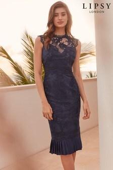Lipsy VIP Lace Pleated Hem Dress