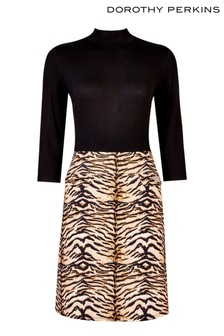 Dorothy Perkins Tiger Print 2-In-1 Dress