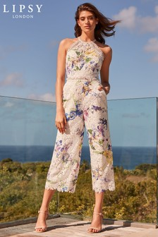 Lipsy VIP Brook Print Halter Trim Jumpsuit