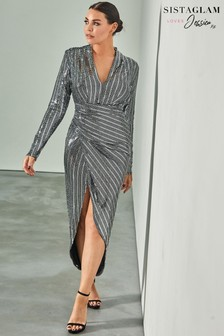 Sistaglam Loves Jessica Wrap Stretch Lurex Dress