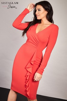 Sistaglam Loves Jessica Wrap Bodycon Midi Dress