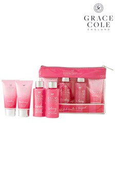 Grace Cole The Luxury Bathing Company All Set Travel Bag Hand & Body Care Gift Set In Rhubarb, Vanilla & Bergamot