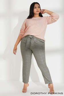Dorothy Perkins Curve Check Tie Waist Trousers