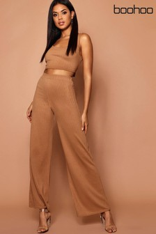 Boohoo Ribbed Wide Leg Trousers