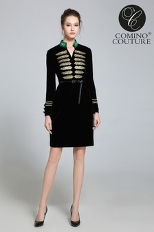 Comino Couture Velvet Military Dress
