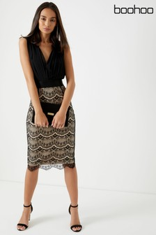 Boohoo Boutique Lace 2-In-1 Bodycon Midi Dress