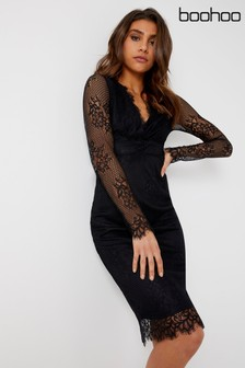 Boohoo Boutique Eyelash Lace Midi Dress
