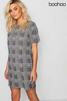 Boohoo Dogtooth Check Mini Shift Dress