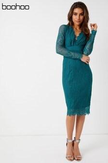 Boohoo Boutique Eyelash Lace Midi Dress