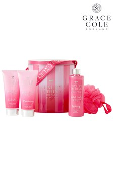 Grace Cole The Luxury Bathing Company Tranquil Treats Body Care Gift Set In Rhubarb, Vanilla And Bergamot