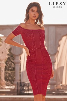 Lipsy Jacquard Lace Bandage Dress