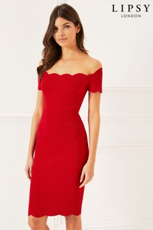 Lipsy Bardot Scallop Dress