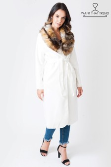 Want That Trend Faux Fur Trim Coat