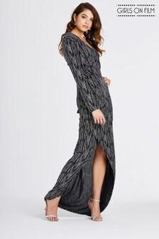 Girls On Film Lurex Ruch side detail Maxi Dress