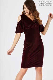 Girls On Film Sparkle Velvet Cold Shoulder Bodycon Dress