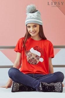 Lipsy Girl Christmas Pug Tee
