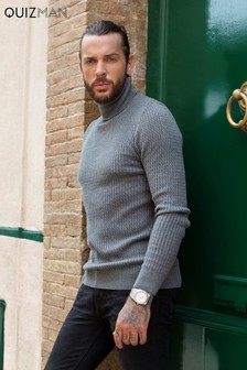 Quiz Man Cable Knit Roll Neck Jumper