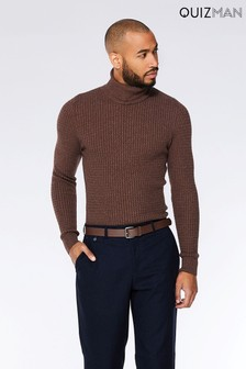 Quizman Cable Knit Roll Neck Jumper