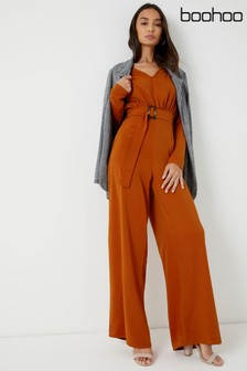 Boohoo Horn Belted Jumpsuit