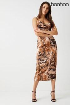 Boohoo Snake Cowl Neck Cami Midi Dress